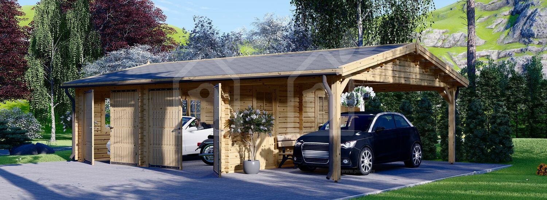 Garaje de madera doble con cochera (44 mm), 6x6 m + 3x6 m (cochera), 54 m² visualization 1