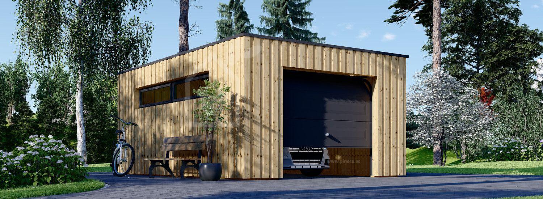 Garaje de madera de techo plano STELA F (estructura de madera), 4x6 m, 24 m² visualization 1
