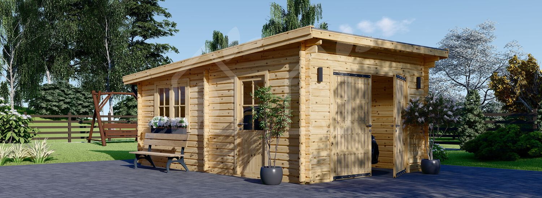 Garaje de madera de techo plano MODERN (44 mm), 4x6 m, 24 m² visualization 1