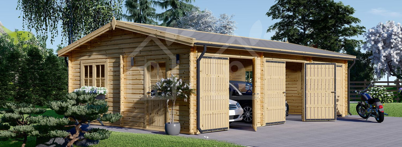 Garaje de madera TRIPLE (44 mm), 9x6 m, 54 m² visualization 1