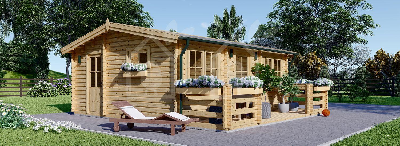 Casa de madera con porche ALTURA (44+44 mm), 31 m² + 8 m² visualization 1