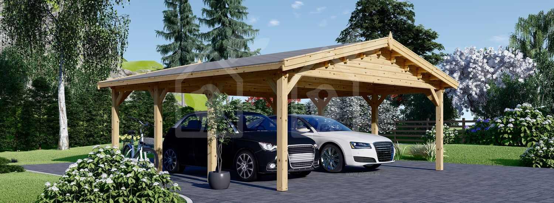Cochera de madera double CLASSIC DOUBLE, 6x6 m, 36 m² visualization 1