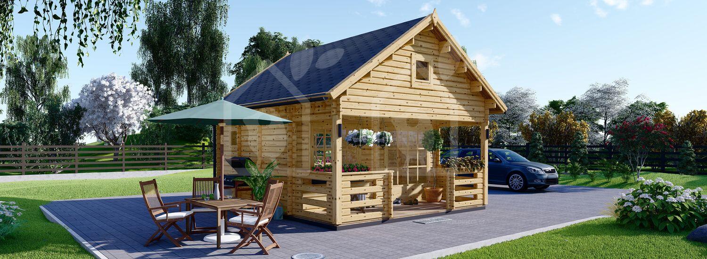 Casa de madera con porche ALBI (44 mm), 20 m² visualization 1
