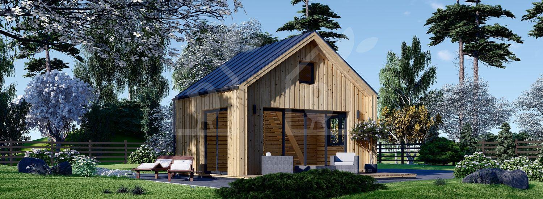 Casa de madera para jardín SARA (44 mm + revestimiento), 20 m² visualization 1