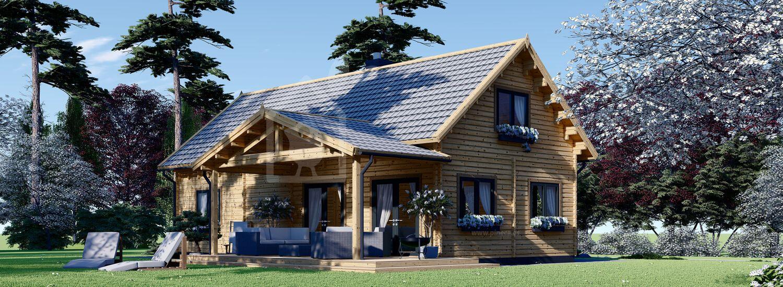 Casa de madera VERA (44+44 mm), 132 m² + 13.5 m² porche visualization 1