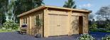 Garaje de madera DOBLE MODERN de tejado plano (44 mm), 6x6 m, 36 m² visualization 2