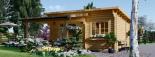 Caseta de madera HELEN (44 mm), 6x4 m, 24 m² + 12,5 m² porche visualization 3
