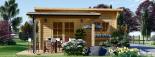 Caseta de madera HELEN (44 mm), 6x4 m, 24 m² + 12,5 m² porche visualization 2