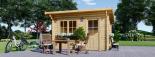 Caseta de jardín de madera DREUX con tejado plano (44 mm), 4x3 m, 12 m² visualization 1
