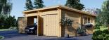 Garaje de madera DOBLE MODERN de tejado plano (44 mm), 6x6 m, 36 m² visualization 6