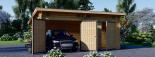 Garaje de madera de tejado plano MODERN 600x600 44 mm, 36 m² DOUBLE visualization 3