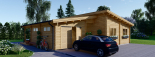 Casa de madera BERTA de tejado plano (44+44 mm), 72 m² + garaje 20 m² visualization 1