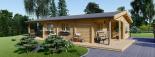 Casa de madera LINDA (44+44 mm), 78 m² + 38 m² porche visualization 2