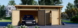 Garaje de madera DOBLE MODERN de tejado plano (44 mm), 6x6 m, 36 m² visualization 4