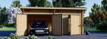 Garaje de madera de tejado plano MODERN 600x600 44 mm, 36 m² DOUBLE visualization 4