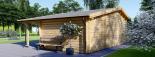 Cabaña de madera para jardín CLARA (66 mm), 28 m² visualization 3