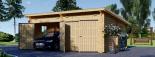 Garaje de madera DOBLE MODERN de tejado plano (44 mm), 6x6 m, 36 m² visualization 5