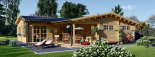 Casa de madera BERTA (66 mm), 72 m² + garaje 20 m² visualization 2