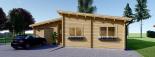 Casa de madera BERTA de tejado plano (44+44 mm), 72 m² + garaje 20 m² visualization 3