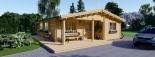 Casa de madera LINDA (44+44 mm), 78 m² + 38 m² porche visualization 1