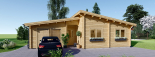 Casa de madera BERTA de tejado plano (44+44 mm), 72 m² + garaje 20 m² visualization 2