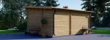 Caseta de madera HELEN (44 mm), 6x4 m, 24 m² + 12,5 m² porche visualization 5